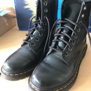 dr martens green patent lace up boots